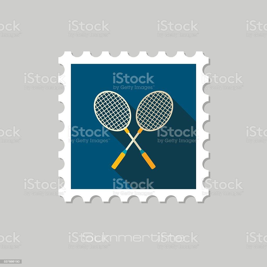 Badminton Racket flat stamp. Summer. Vacation vector art illustration