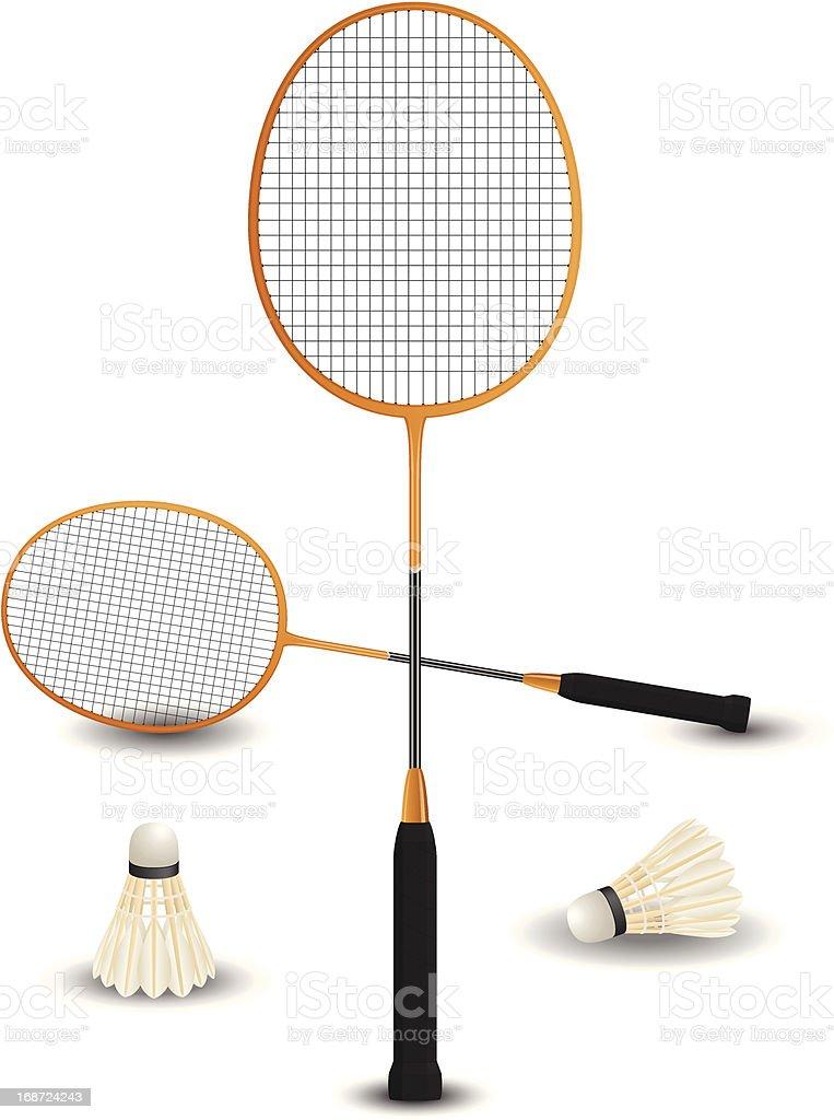 Badminton racket with birdies eps8 royalty-free stock vector art