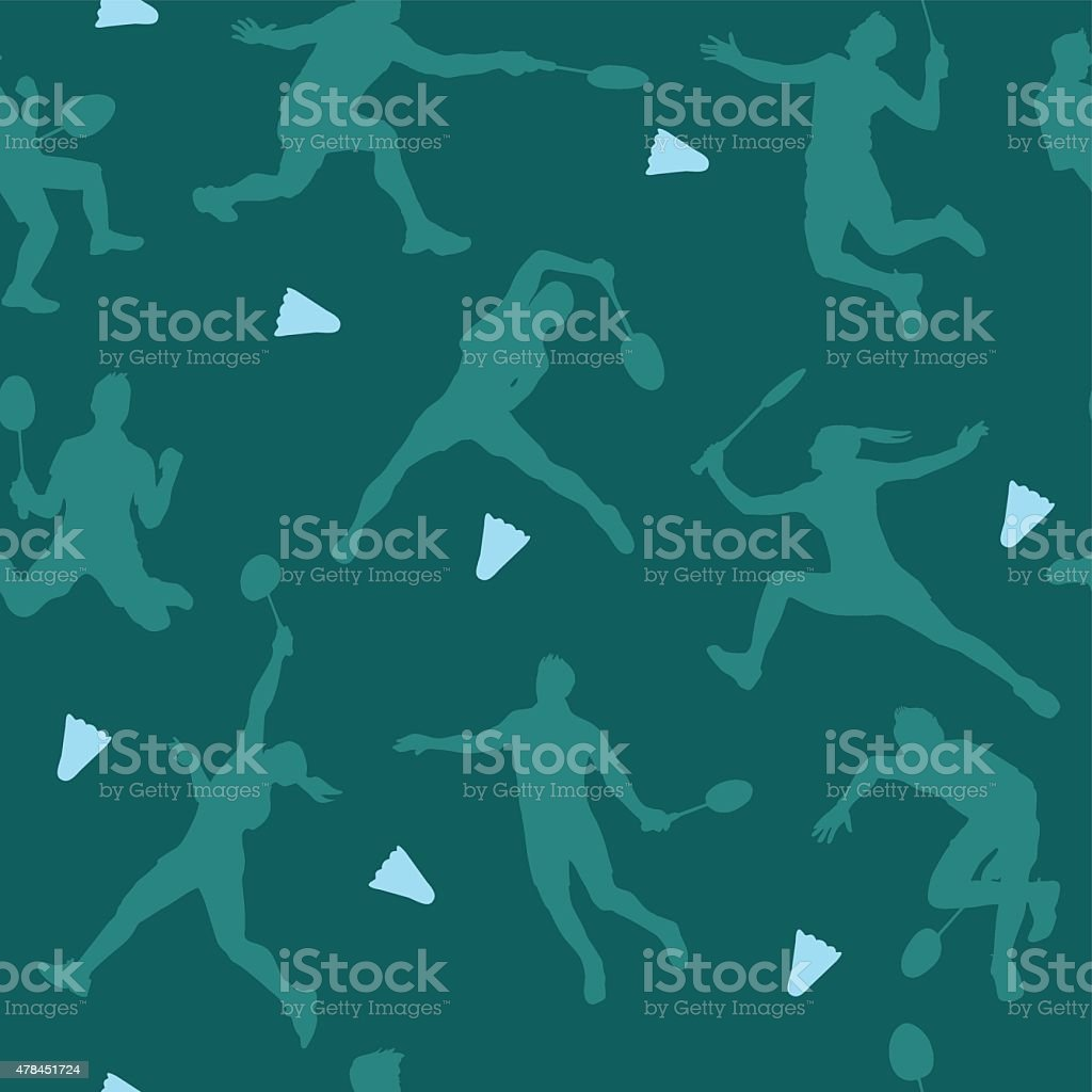 Badminton sports pattern. Seamless vector background vector art illustration