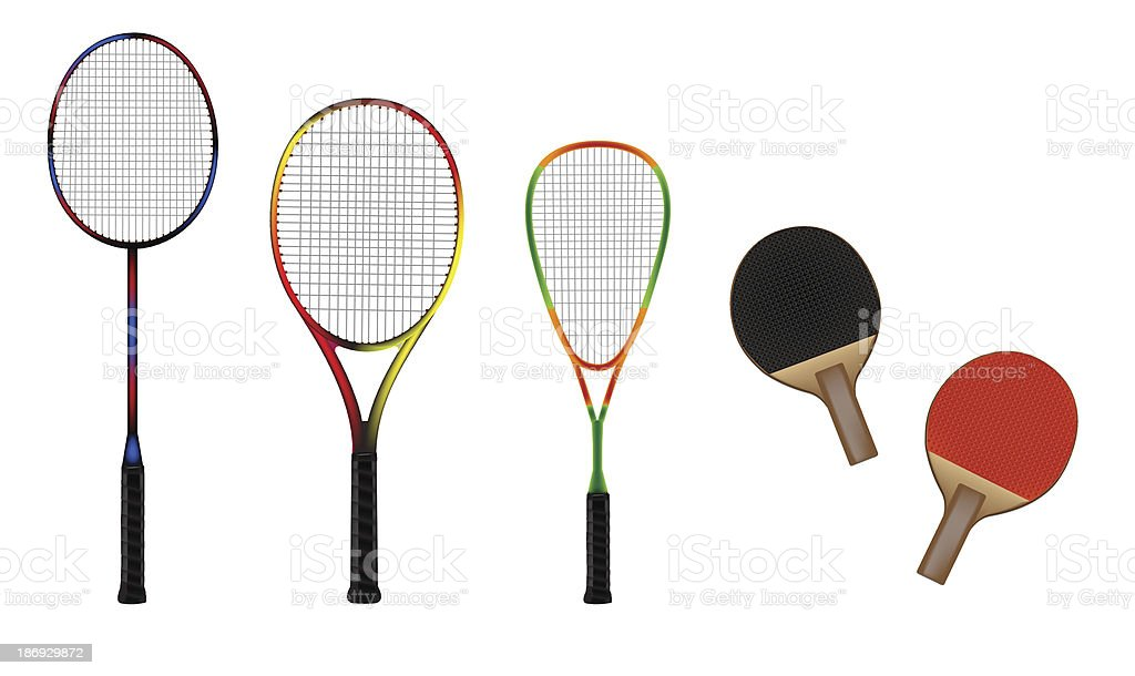 Badminton, tennis, squash and table-tennis equipment vector illustration royalty-free stock vector art