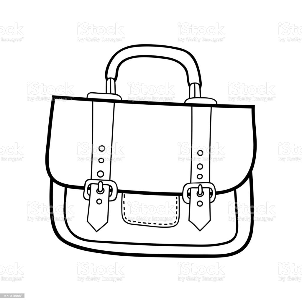 Coloring book bag - Bag Fashion Accessory Black And White Illustration For Coloring Book Royalty Free Stock