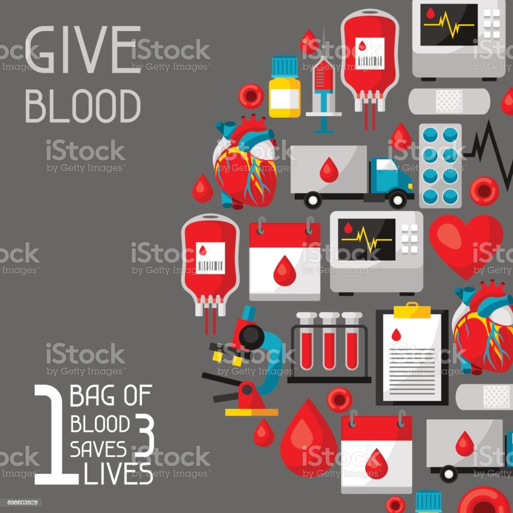 1 bag of blood saves 3 lives. Background with blood donation items. Medical and health care objects vector art illustration