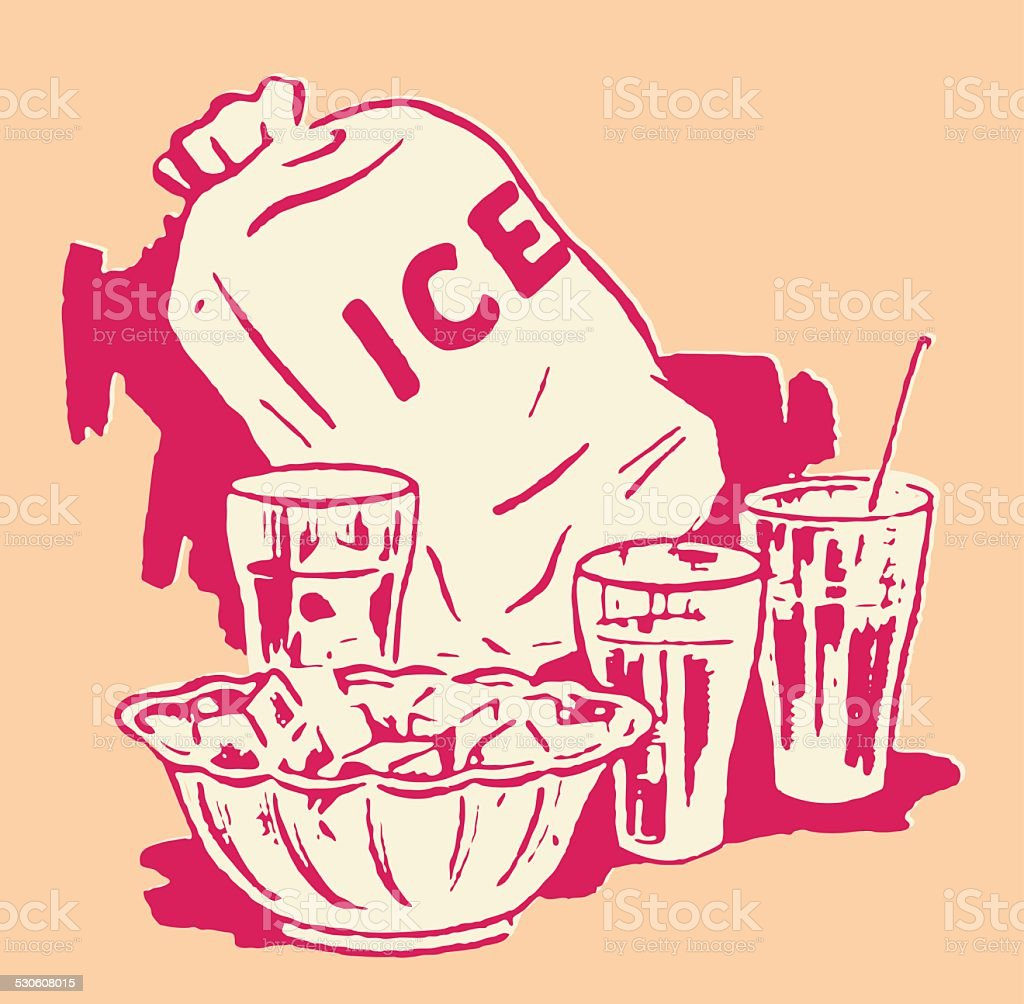 Bag of Ice with Bowl and Drinking Glasses vector art illustration