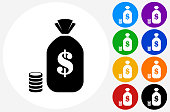 Bag of Money Icon on Flat Color Circle Buttons