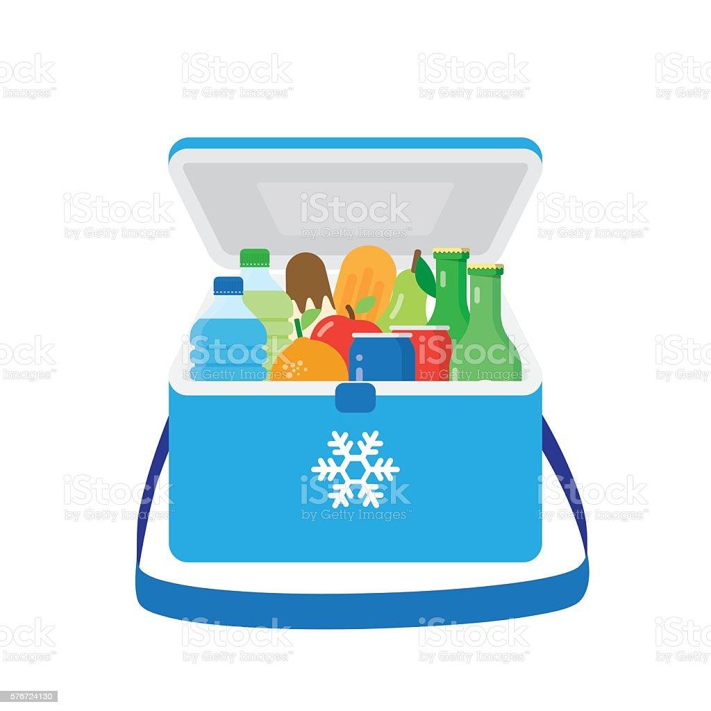 Bag refrigerator icon. Cooler symbol vector art illustration