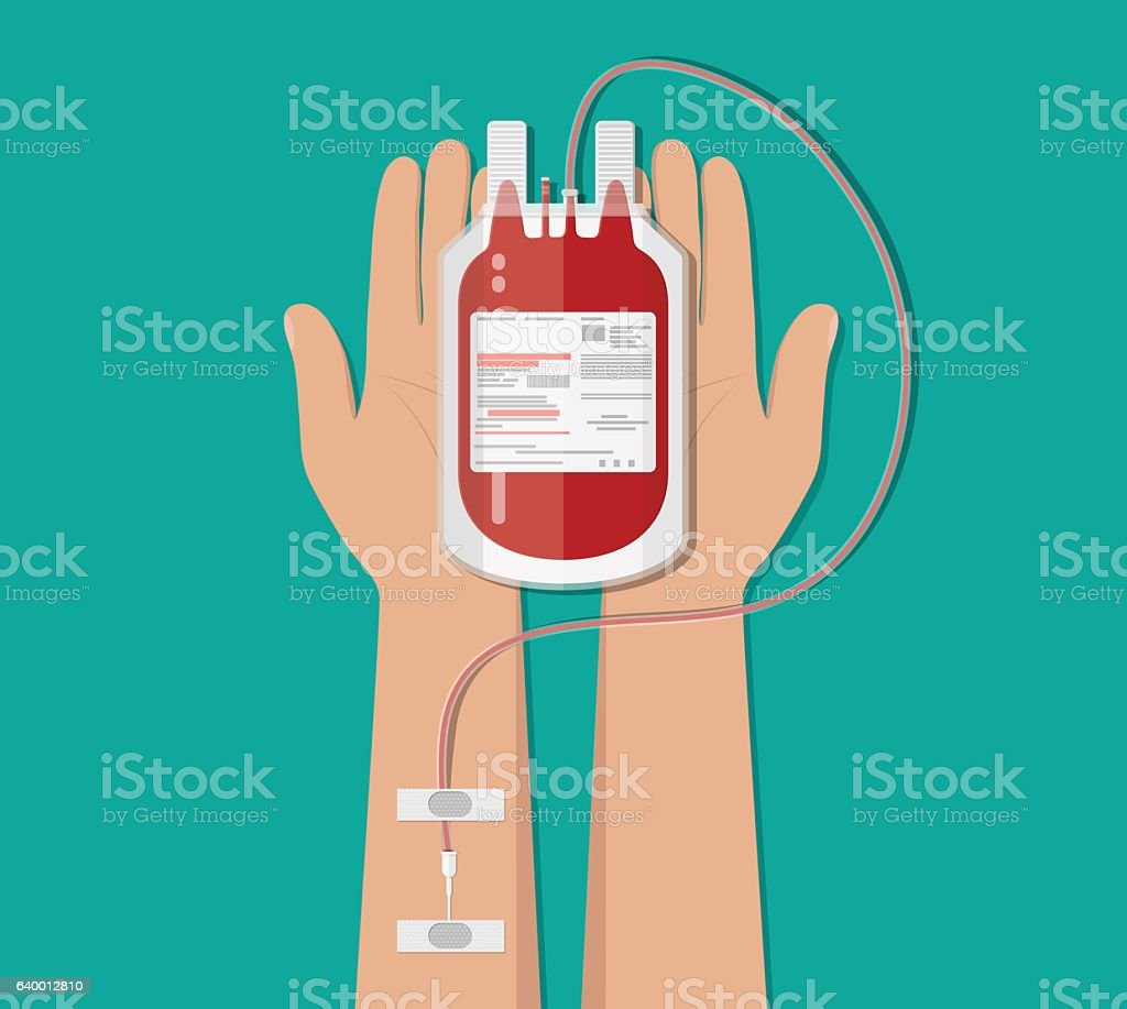 Bag with blood and hand of donor. donation concept vector art illustration