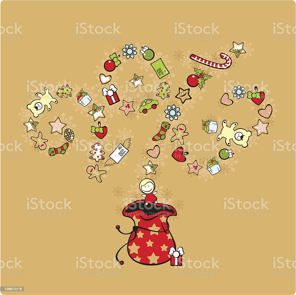 Bag with presents royalty-free stock vector art