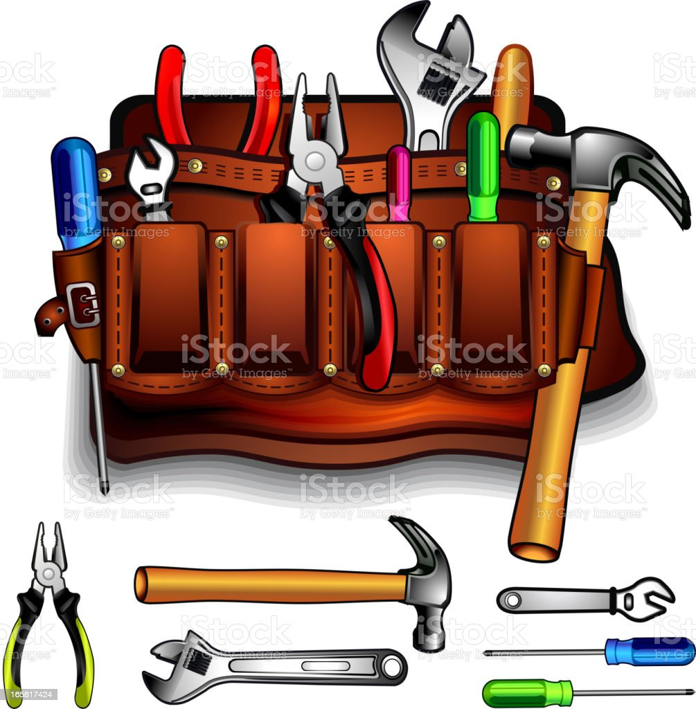 Bag with tools vector art illustration