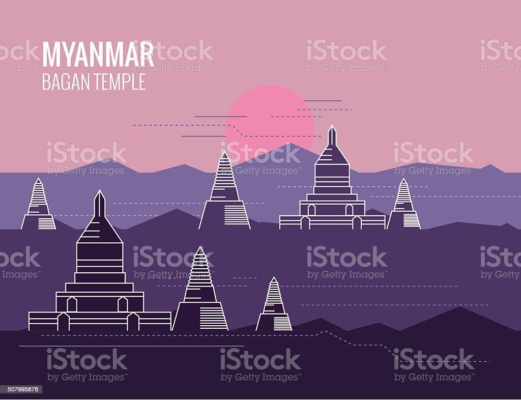 Bagan Temple at Sunrise. destination scene of Myanmar. vector art illustration