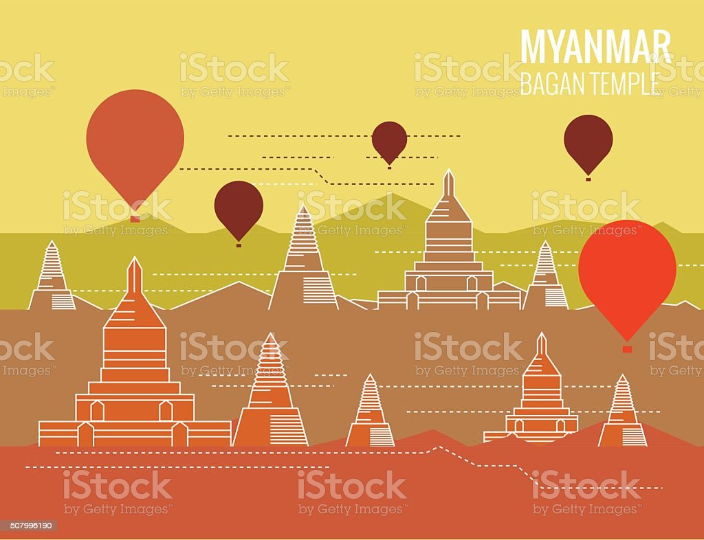 Bagan Temple with hot air balloon. vector art illustration