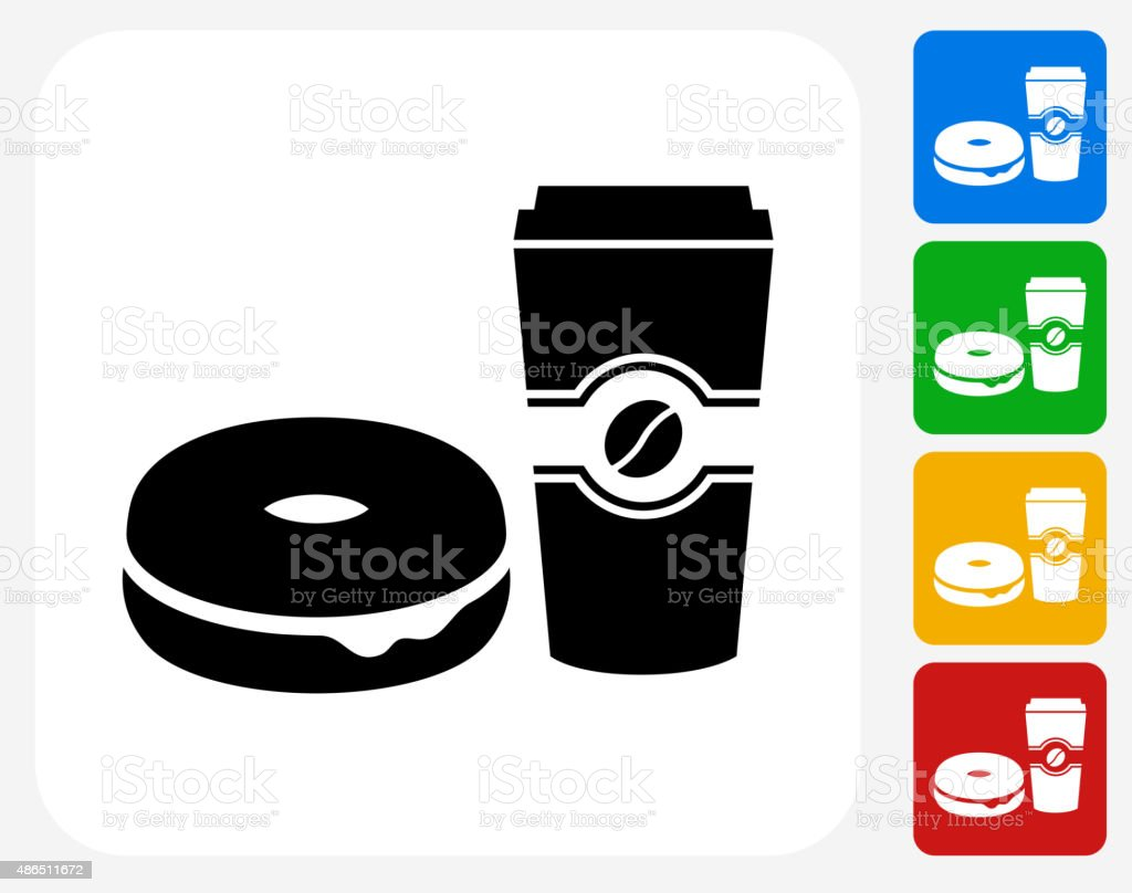 Bagel and Coffee Icon Flat Graphic Design vector art illustration