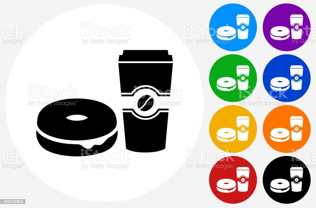 Bagel and Coffee Icon on Flat Color Circle Buttons vector art illustration