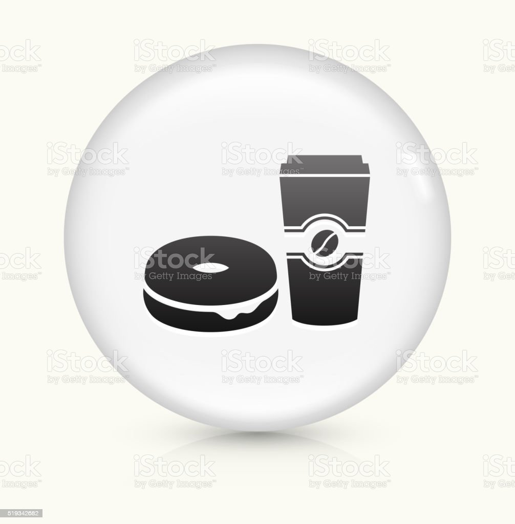 Bagel and Coffee icon on white round vector button vector art illustration