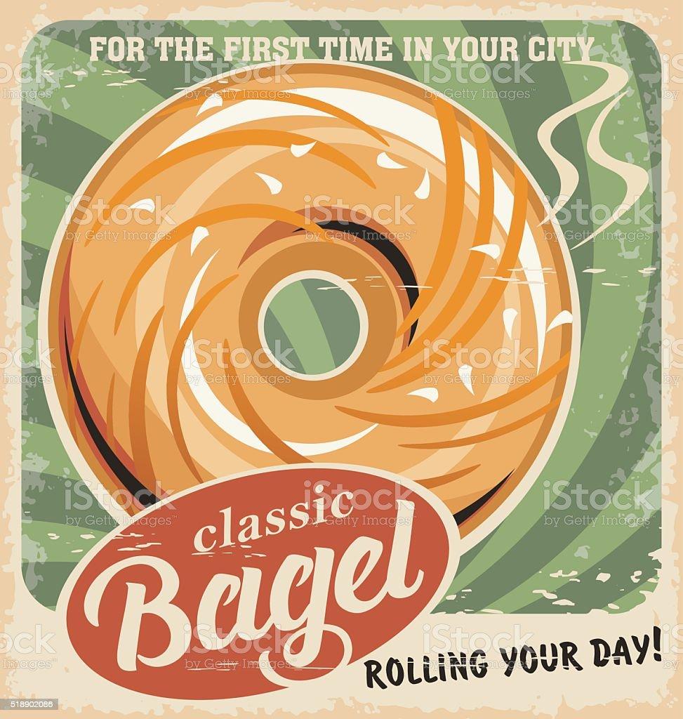 Bagel bakery vintage poster design. Retro pastry sign. vector art illustration