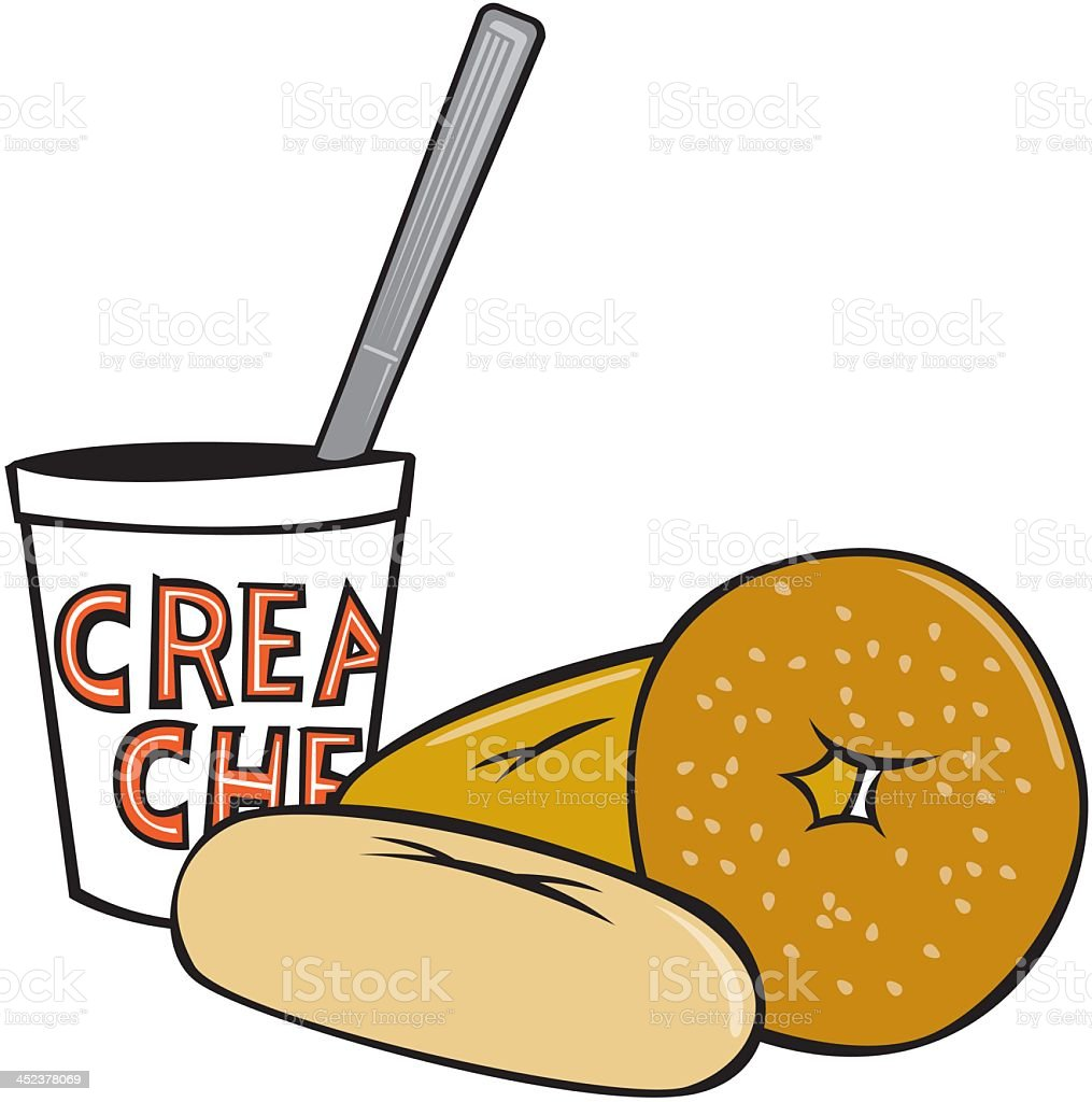 Bagel, bread and cream cheese vector art illustration