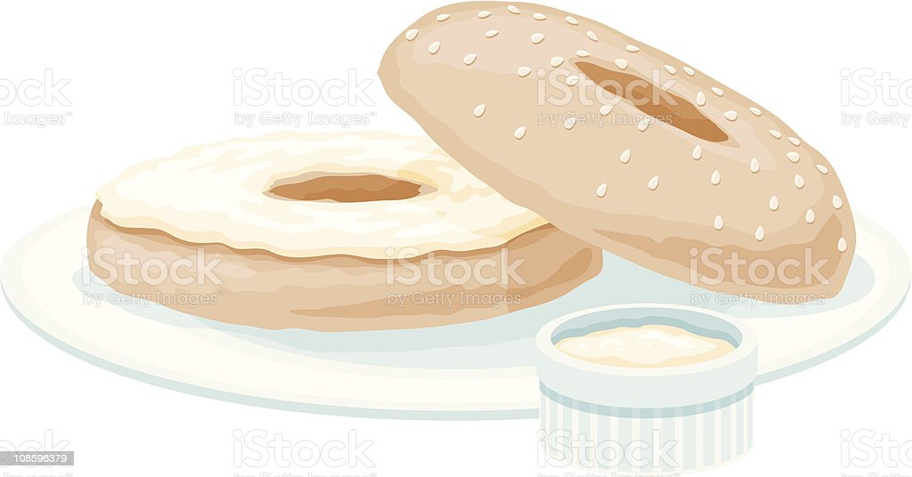 Bagel with Cream Cheese vector art illustration