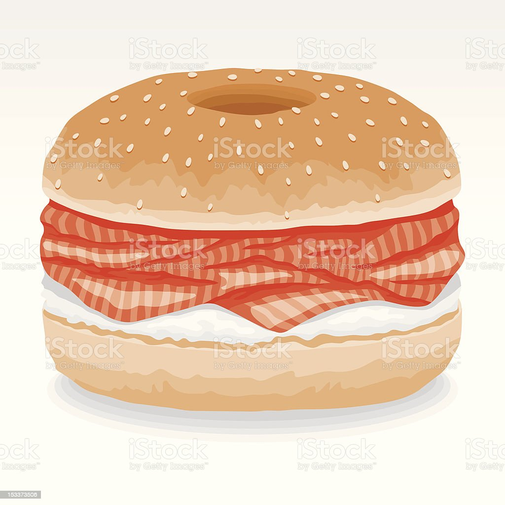 Bagel with Lox and Cream Cheese royalty-free stock vector art