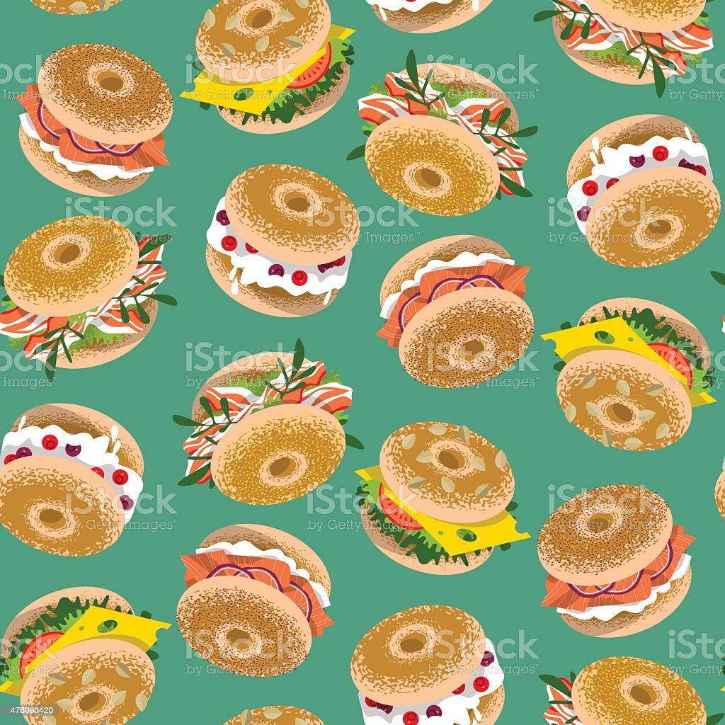 Bagels with various toppings. Seamless background pattern. vector art illustration