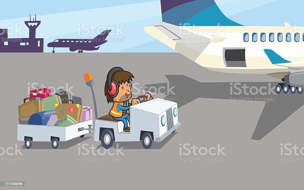 Baggage Handler At Work vector art illustration