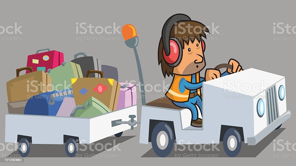 Baggage Hanndler and Cart vector art illustration