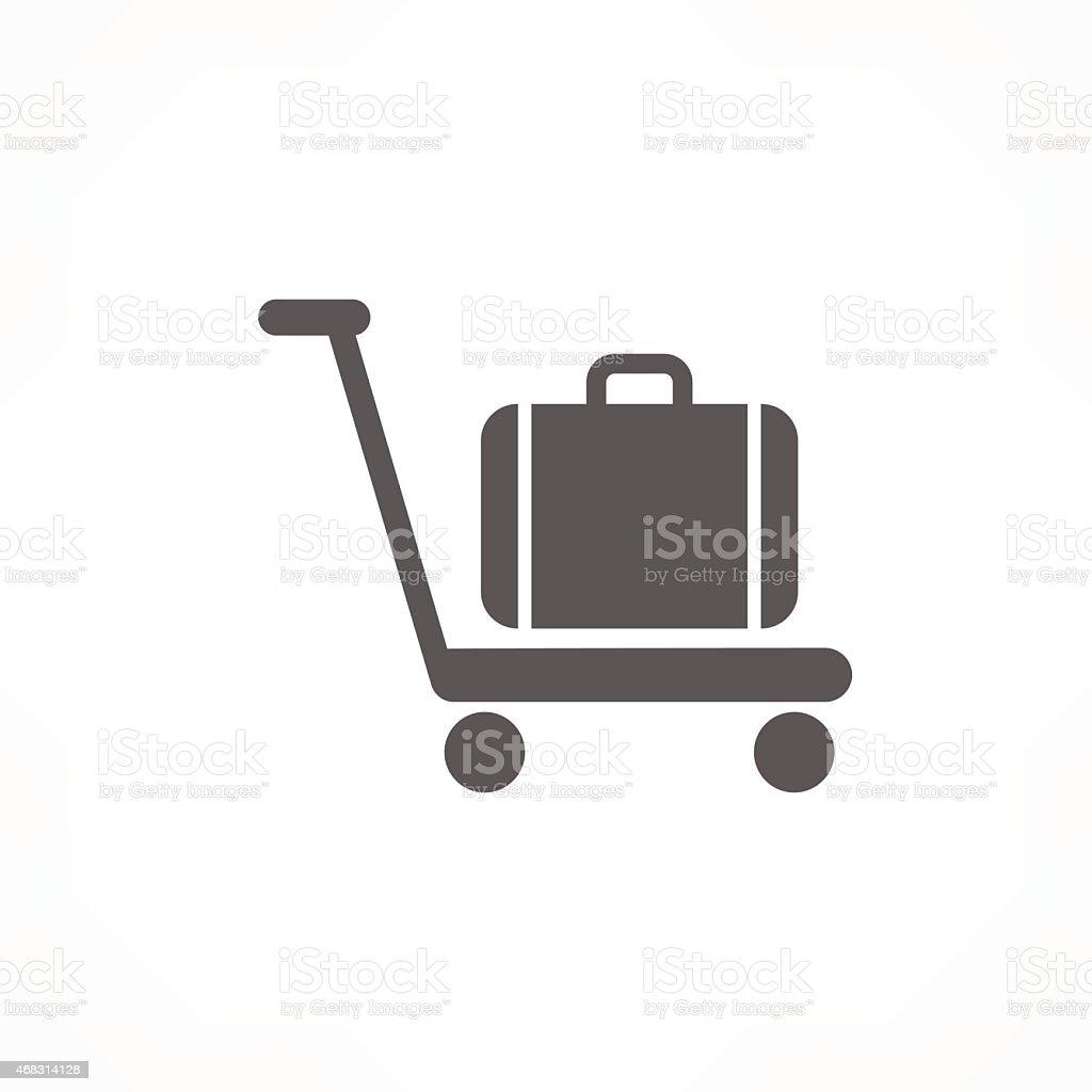 baggage on cart icon vector art illustration