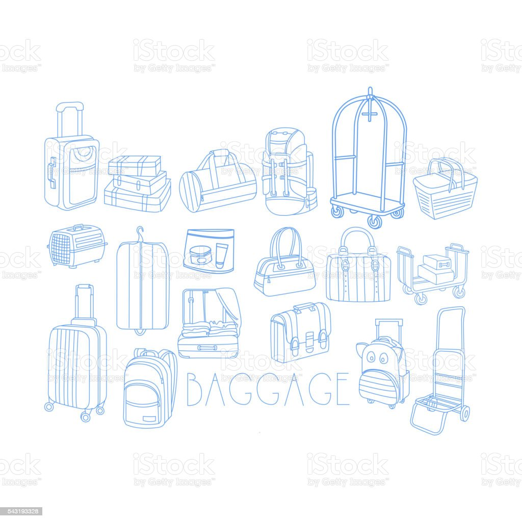 Baggage Related Object Set With Text vector art illustration