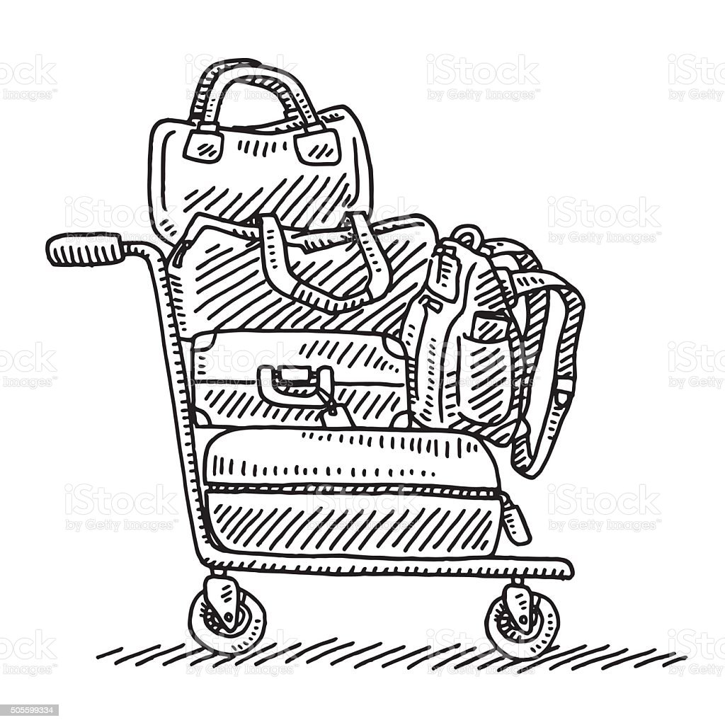 Baggage Trolley Drawing vector art illustration