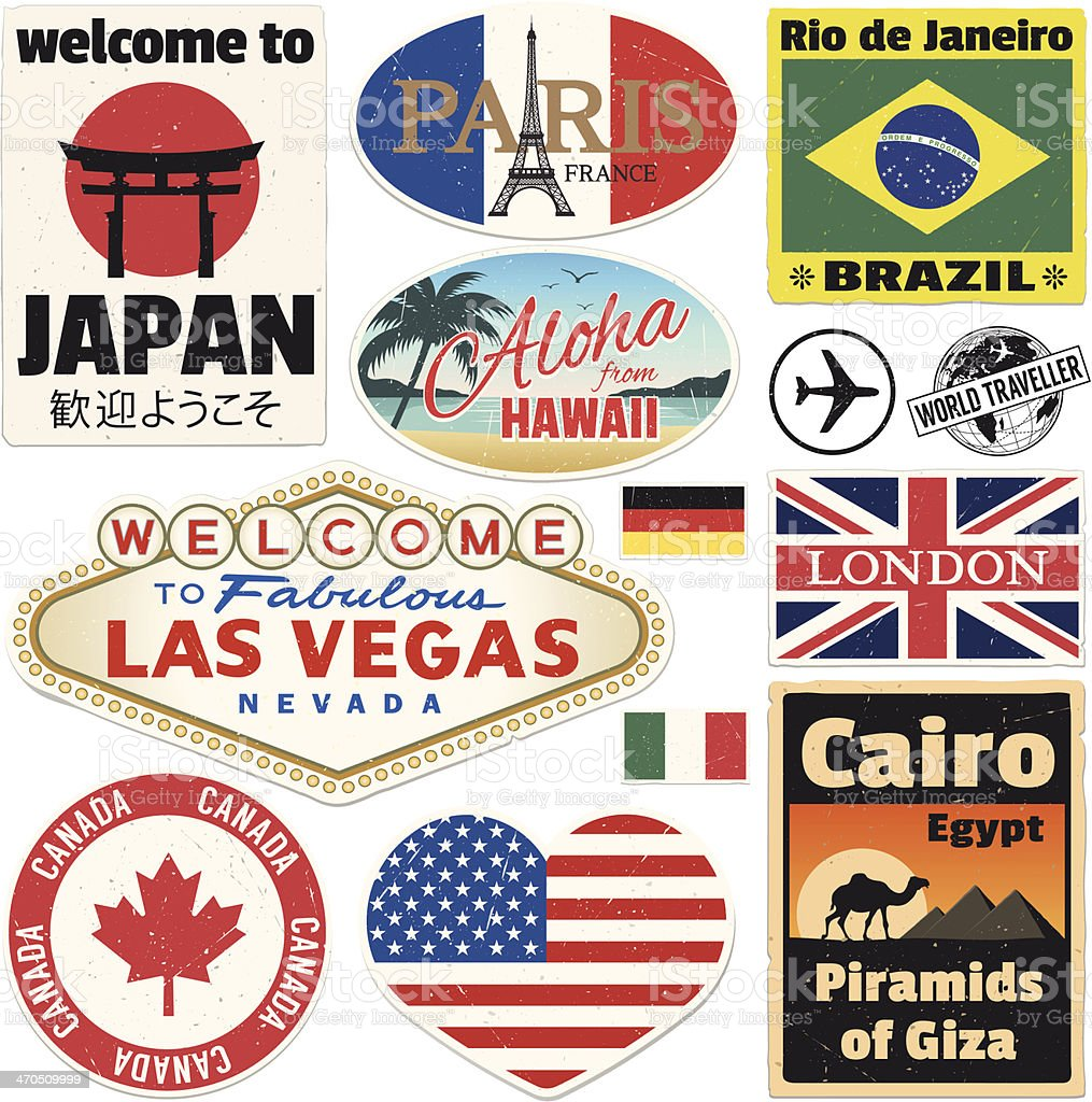 Baggage Vintage Travel Stickers vector art illustration
