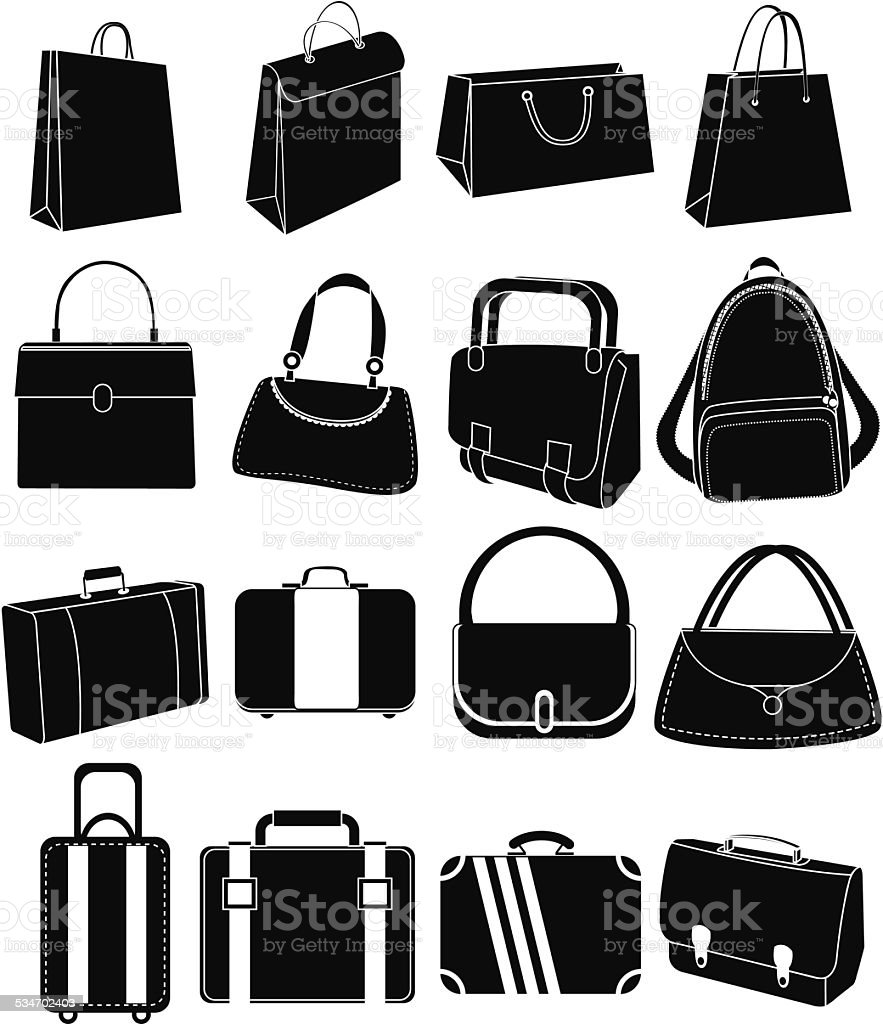 Bags icons set vector art illustration