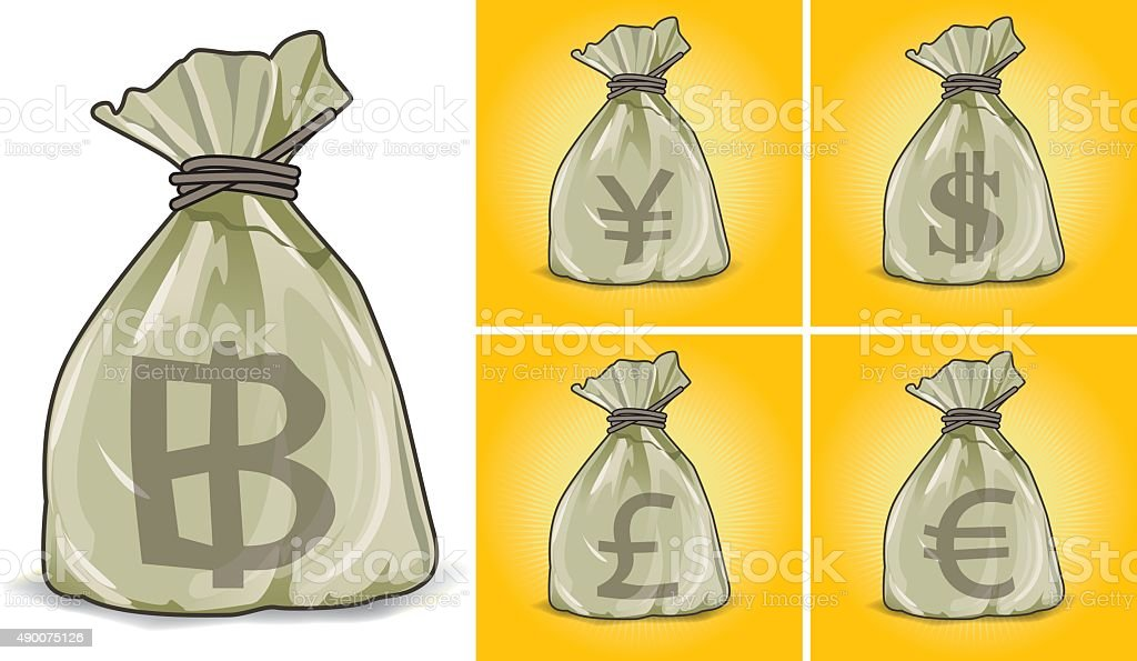 Bags imprinted currencies. vector art illustration