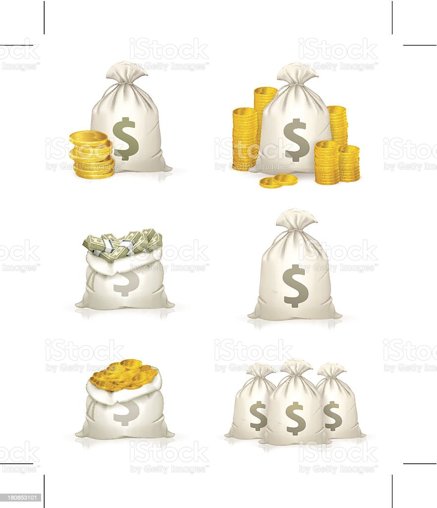 Bags of money, icon set vector art illustration