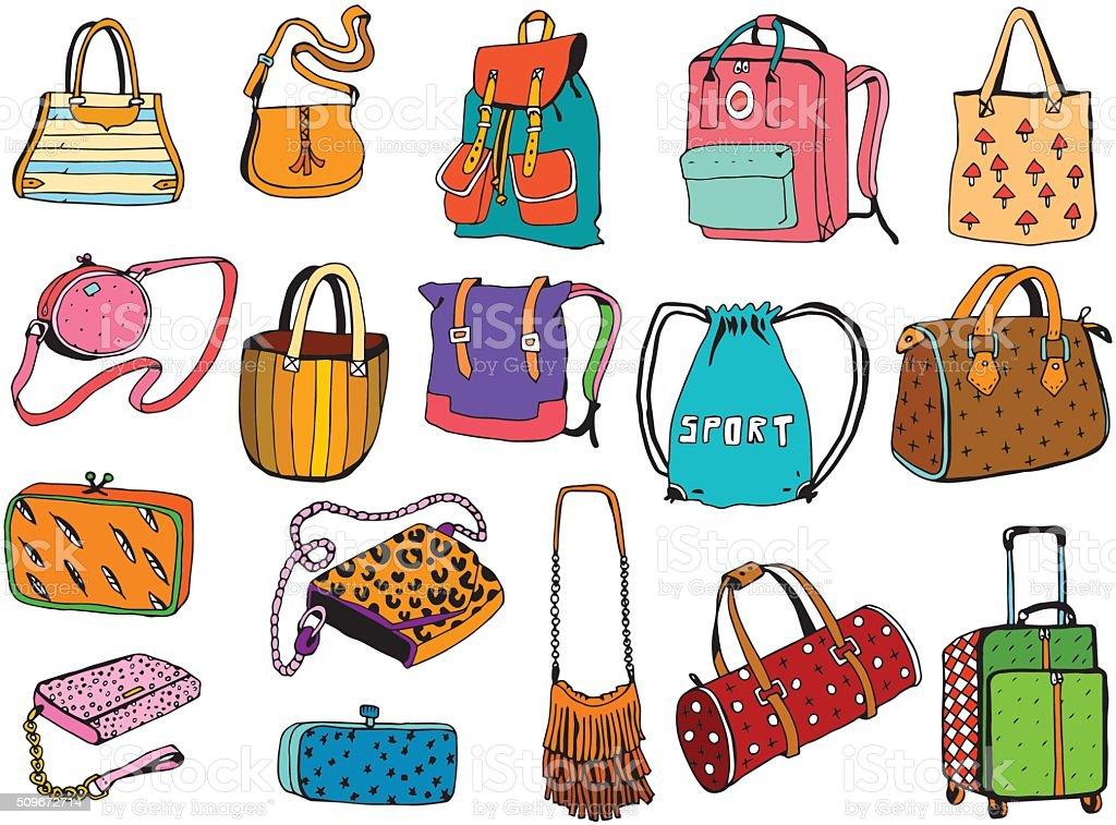 Bags Set vector art illustration