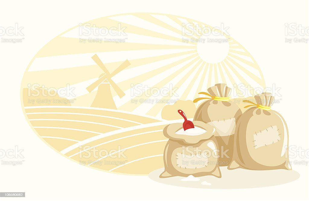 bags with flour vector art illustration