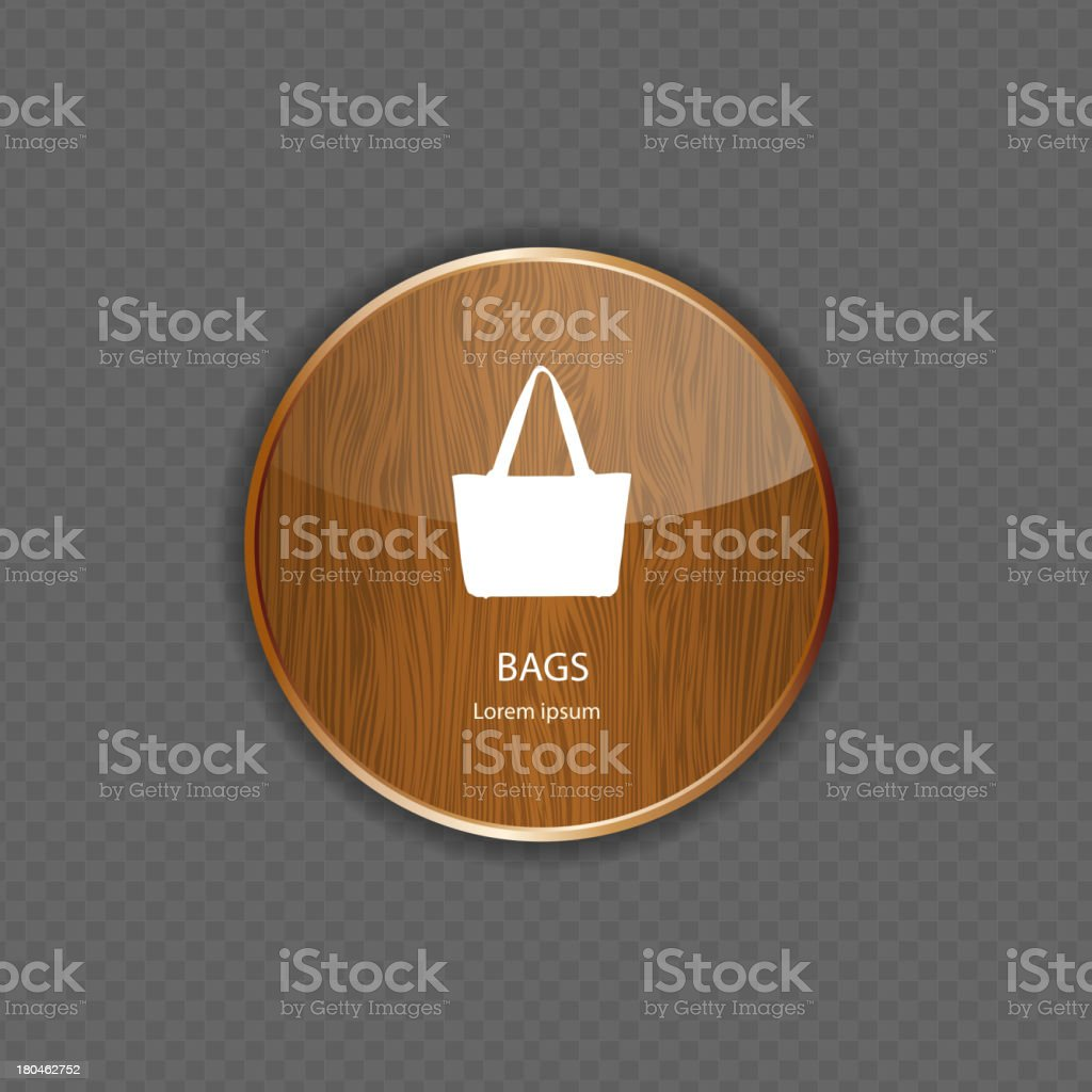 Bags wood application icons royalty-free stock vector art