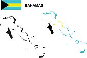 Bahamas map vector, Bahamas flag vector, isolated Bahamas