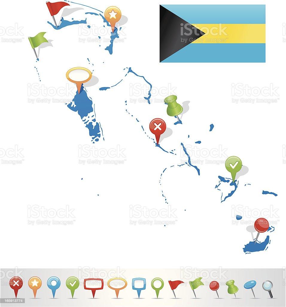 Bahamas map with navigation icons royalty-free stock vector art