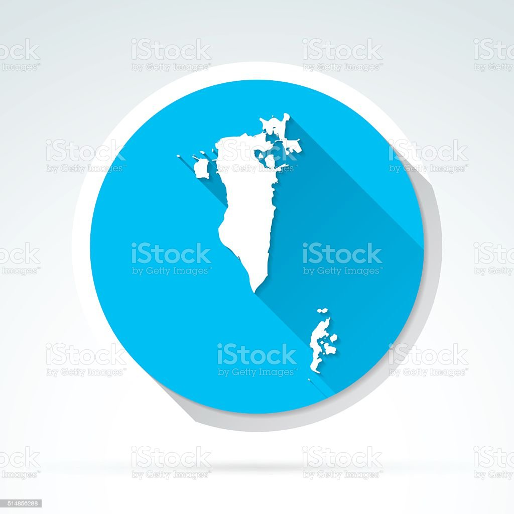 Bahrain map icon, Flat Design, Long Shadow vector art illustration