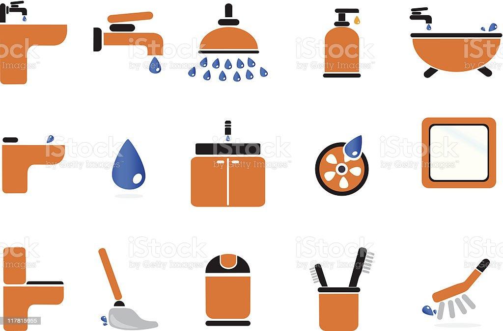 Bahtroom Icon Set vector art illustration