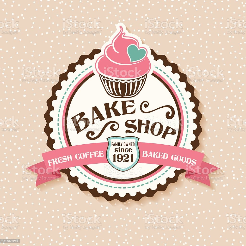 Bake Shop Sticker With Cupcake and Ribbon vector art illustration