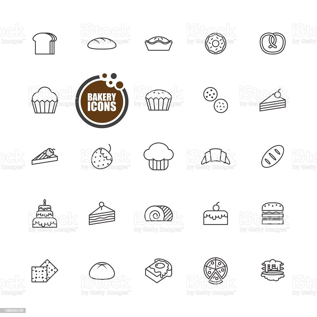 Baked bakery bread  icons line set vector art illustration