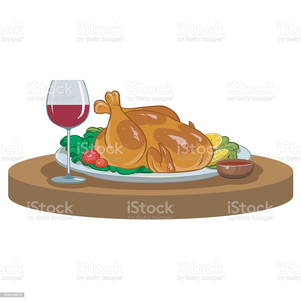 baked chicken and a glass of wine vector art illustration