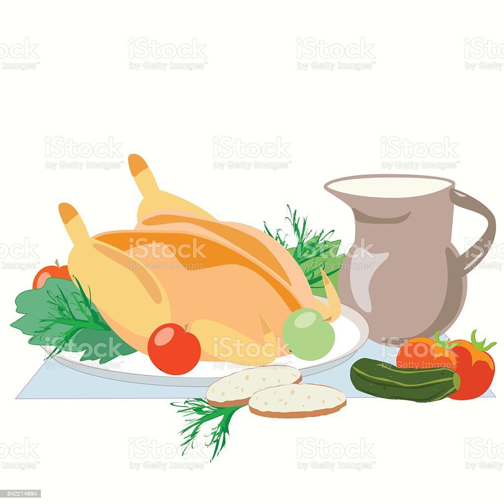 baked chicken with greens, Apple, tomato, cucumber and brown jug royalty-free stock vector art