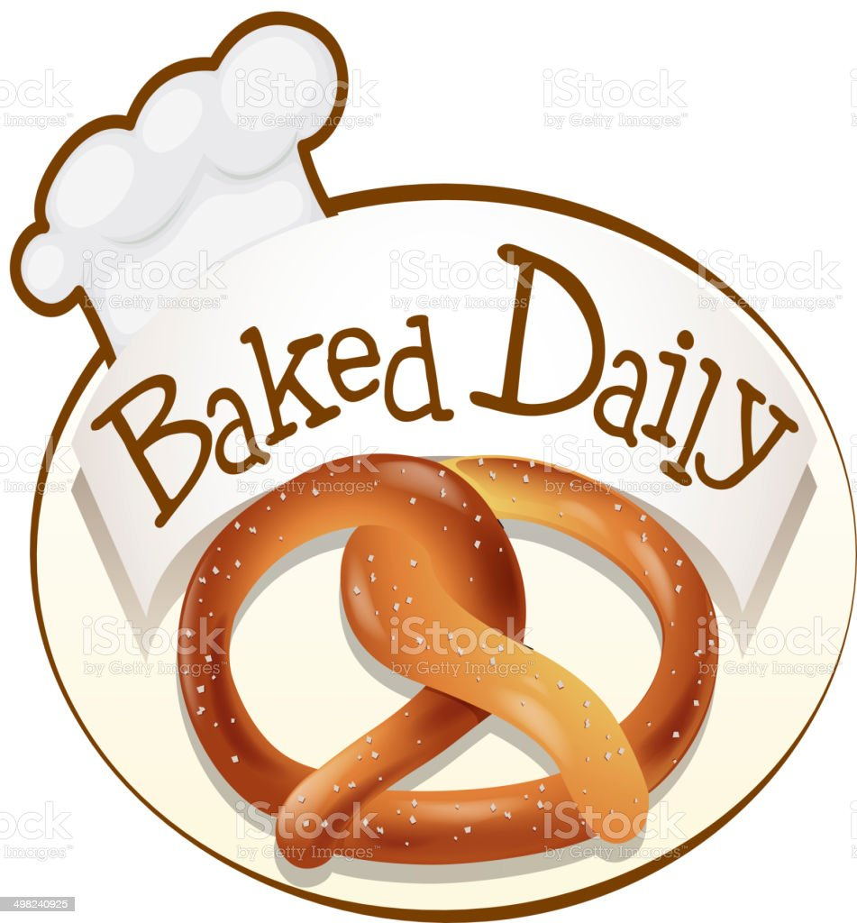 Baked daily label with a twisted bread vector art illustration