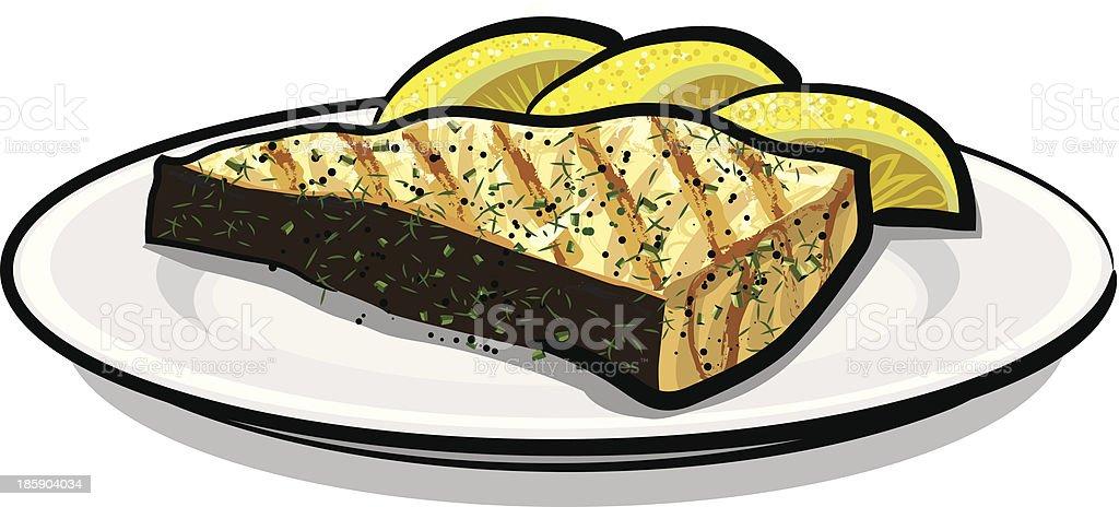 baked fish vector art illustration