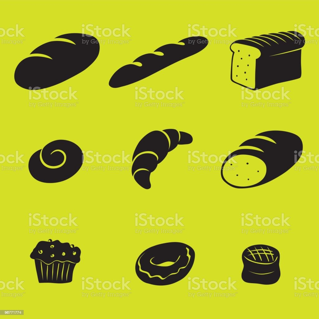 Baked food black icons vector art illustration