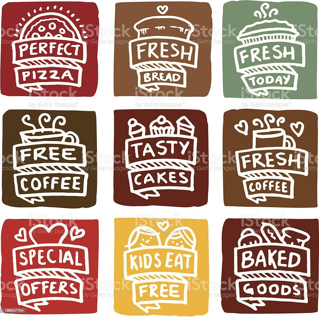 Baked goods icons block icon set vector art illustration