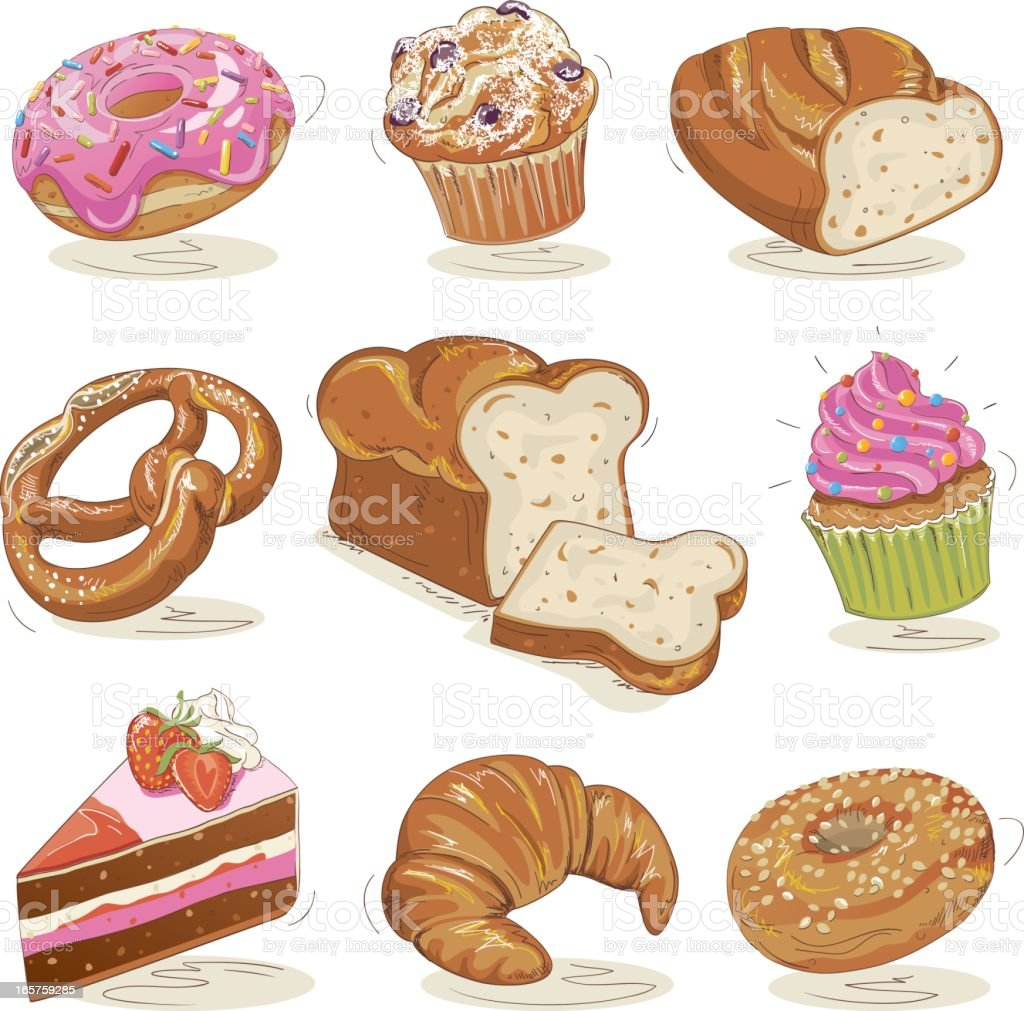 Baked Goods Set royalty-free stock vector art