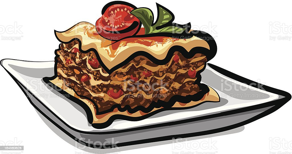 baked lasagna royalty-free stock vector art
