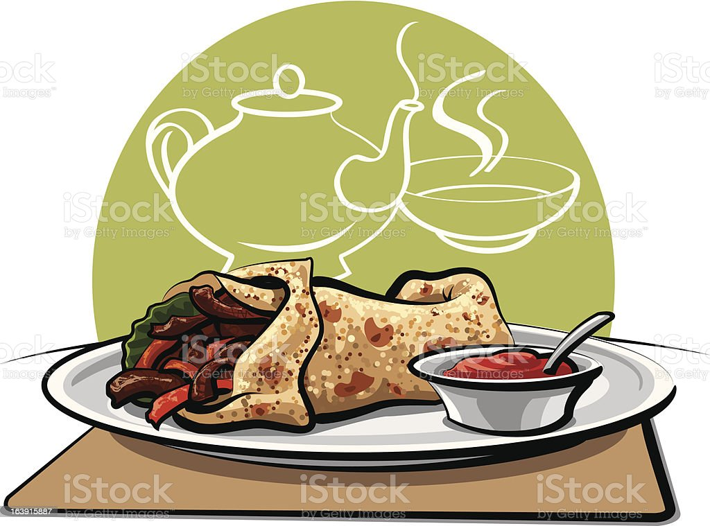 baked meat wrapped with pita royalty-free stock vector art