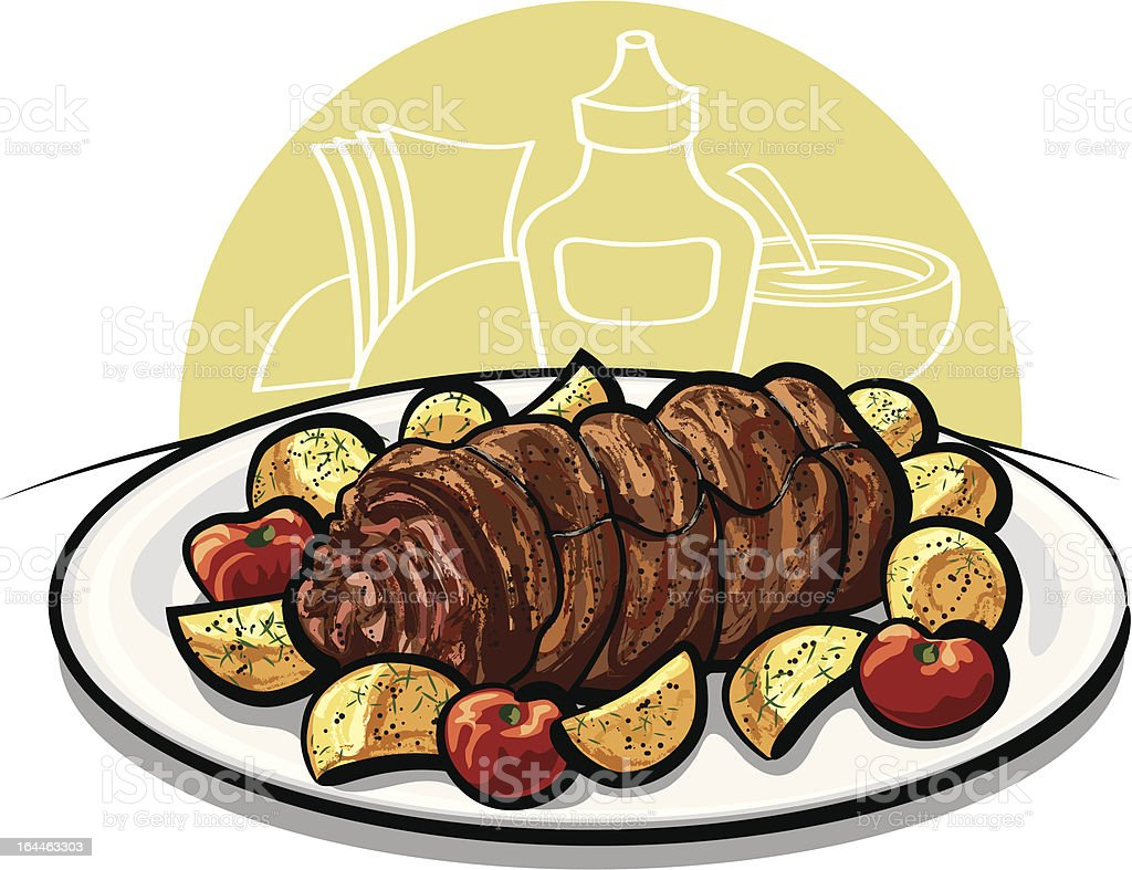 Baked meatloaf royalty-free stock vector art